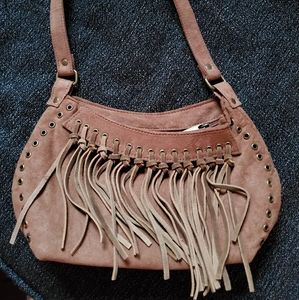 Brown suede purse with fringes